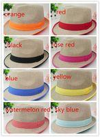 Wholesale Women Men Unisex Colorful Ribbon Linen bag Panama cTopee Straw Beach Sun Hat Couple Jazz hat