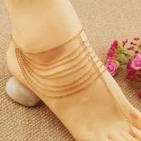 Wholesale Gold Iron Chain Foot Ornaments Romantic Wedding Sandy Summer Beach Jewelry Anklets By Barefoot Wedding Accessory