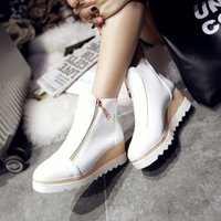 Wholesale Hot selling Autumn Wedges Boots Ankle Boots Heels Women s Shoes Shoes for Women Round Toe