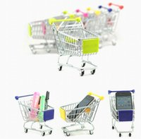 Wholesale Free DHL new Cute shopping Cart Mobile Phone Holder Pen Holder Mini Supermarket Handcart Shopping Utility Cart Phone Holder