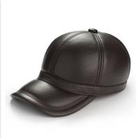 Wholesale 1 pc men winter fashion hat genuine leather cowhide winter warm round baseball cap black brown XL XXL