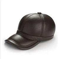 Precio de Sombreros casual para los hombres-1 PC sombrero de la manera invierno de los hombres de cuero genuino cuero de vaca invierno caliente gorra de béisbol redondo de color negro / marrón XL / XXL