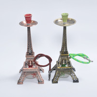 best shisha - 1601 The Eiffel Tower Hookah Red Green Ancient grinder Whole set Zinc alloy shisha hookah smoking pipe Complete set the best price