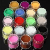 al por mayor kits de uñas acrílicas jumbo-Nueva 18 piezas Nail Art Set acrílico tamaño jumbo UV polvo del brillo polaco Uñas Kit Shine Colores polvo decoración de color al azar