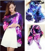Wholesale Galaxy Star Space printing Women Fashion Long Wrap Shawl Chiffon Scarf Scarves