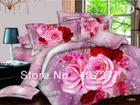 american girl quilt - Girls fantastic red pink flower bedroom set home textile for queen polyester quilt duvet cover sheets comforter bedding sets