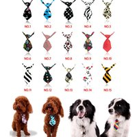 Wholesale Dot Stripe design Polyester Silk Lovely Dog Cat Tie Teddy Adjustable Bow Tie Necktie Collar Pet Accessory color