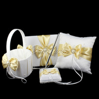 aerial basket - New Golden Colors Aestheticism Satin Ring Pillow Flower Basket Guest Book Pen Party Decor Products Wholesales
