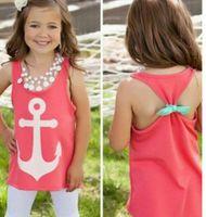 Cheap 2015 new baby girls Anchor print Tank Tops Graphic Tee brand designer cute kids Sleeveless bow back t shirt Summer Style vest 4-12T