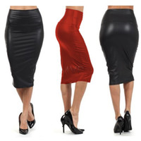 Wholesale Promotion black Red Pencil Skirt Women Plus Size High Waisted Skirt Leather Skirt Drop Leather Pencil Skirt SV02