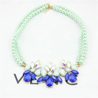 Cheap Korea purchasing small fresh mint green candy blue green gem diamond pearl flowers clavicle chain short necklace