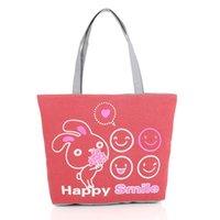 Mode femme mignon sac fourre-tout Imprimer toile réutilisable sourire de bande dessinée sac face shopper sac de transport