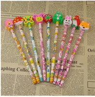 wood animal erasers for kids - Creative Cartoon Stationery For Kids HB Pencil Student Award Different Animal Design Eraser Pencil For Lovely Girls Boys