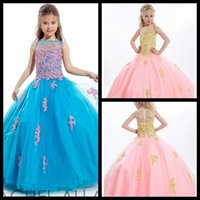 Wholesale Fashion Blue Green Pink Ball Gown Pageant Dresses for Teens Lace Applique Beads Girls Pageant Dress Little Girls Prom