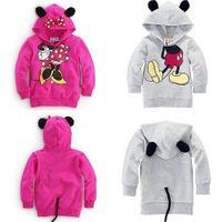 Revisiones Capas superiores del traje-5 porción de las PC bebés de los muchachos de los niños de Mickey Mouse Minnie Sudaderas 3D Tops sudaderas Escudo Trajes del traje de deporte Prendas