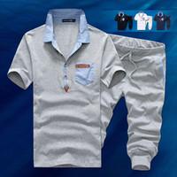 sweat suits men - 2015 New Arrival Men s Casual Short Sleeve Sports Set Solid Polo Sport Suit Men Polo Sweat Suit Tracksuit Men Sports Suit