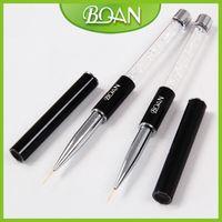 Wholesale BQAN Single piece Crystal Rhinestone Handle Salon Using Skinny Bristle Nail Art Design Nail Liner Brush mm Long