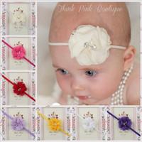 Wholesale baby girls headbands bows Headwear Girls Cute Chiffon Lace Flower Headbands Baby Hair Accessories Fashion Pearl Flower Headbands KHA76