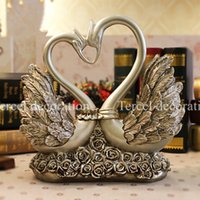 animal lovers club - Double lover swans resin crafts vintage ornaments home accessories as wedding gift fashion decoration for living room club