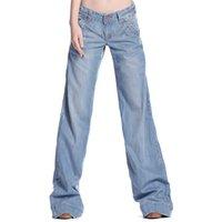 Wholesale Wholesales Women Wide Leg Pants Female Spring Full Length Casual Light Blue Loose Jeans Trousers Asian Size XK0195 salebags