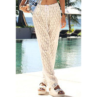 bathing suit cover up pants - Fashion white lace swimwear sexy transparent beach pants vestidos de playa swim suit cover up bathing suit cover ups