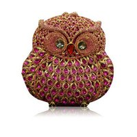 purse clasp - Free Drop Shipping New Hard Shell Red Diamond Crystal Clutch bag Unique Clasp Owl Design Women Evening Bag Party Clutch Purse