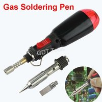 Wholesale pieces Portable Black Cordless Butane Gas Soldering Welding Iron Pen HT