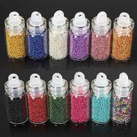 acrylic nail beads - 12 Colors D Nail Caviar Nails DIY Colorful Glitter Bead Glass Circle Beads Art Decoration acrylic nail tools Bottle Set Caviar Free Shippin
