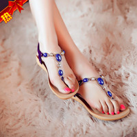 Wholesale Woman Summer Sandals Comfortable Massage sandals Flat Keel Beaded Shoes Diamond Gem Ladies Sandals eu size US size