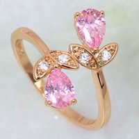 Wholesale Ravishing New Morganite Women s rings Pink Cubic Zirconia Fashion jewelry K Yellow Gold Plated Ring R393