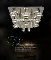 Cheap Lavish bright LED square crystal ceiling lamp with inteliigent remote control , indoor chandelier for mall, hotel ,hall , parlour