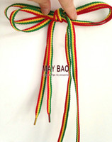 Cheap Rasta Red Yellow Green Stripes Punk Shoe Laces 420 weed Shoelaces Skater Boho Rad Hipster Hobo Shoestrings Bob marley Striped Shoelaces