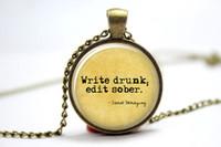 american edit - 10pcs Ernest Hemingway quot Write drunk edit sober quot Necklace Glass Photo Cabochon Necklace