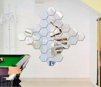 Wholesale 24pcs D Silver Mirror Surface Geometric Hexagon Acrylic Wall Sticker Decor Art Acrylic DIY Home FG07018