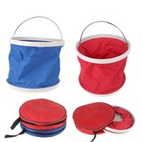 Wholesale 9L Waterproof Plastic Fishing Car Folding Washing Water Bucket Barrel for Outdoor Camping Hiking Red Blue