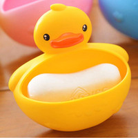 Wholesale Toothbrush Holder Gift Cute Duck Design Soap Dishes Candy Color Bathroom Suction Cup Shower Duck Soap Dish Case