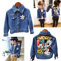 Wholesale 5 Hot sell BABY Girls Boys Spring Autumn Denim long sleeved jackets fashion Mickey Minnie Mouse Coats kids children s coat