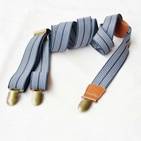 belts and suspenders - European and American gentleman stripes suspenders Men s leather strap