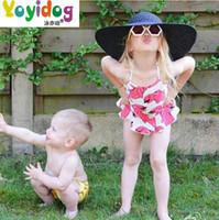 baby pink dolphins - Kids swimwear baby girls dolphins printed falbala dress swimwear kids spa swimwear Children Siamese swimsuits girls beach swimsuit
