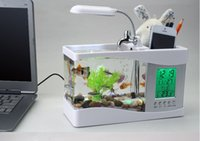 aquarium light timer - Mini USB LCD Desktop Black Fish Tank Aquarium Clock Timer Calendar LED Light fish usb desktop aquarium