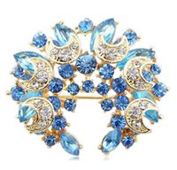 Cheap Shiny women casual clothing jack brooch, fashion Sky Blue pins, wreath high quality brooch, luxury, free postage, wholesale