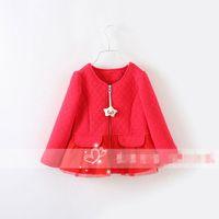 Cheap Korean Fashion Baby Lovely Smile Star Zipper jacket Girls long Sleeve Red Skirt Coat Rufle Lace Winter Wear Double Pocket Jackets