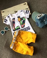 korean fashion clothing - 2015 Summer Boys Fashion Sets Clothing Korean Cotton Short Sleeve Printed T shirts Tops Shorts with Belt PC Set Casual Tracksuit K4138