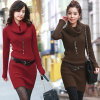 Wholesale 6005 ladies clothing new fashion turtleneck long sleeve long warm knitted sweater for women dress winter casual dresses