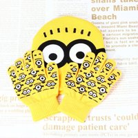 Wholesale One Set Boys Girlds Despicable Me Minions Gloves Hat Set New Winter Warm Knitted Cartoon Beanie Cap Gloves For Kids Baby
