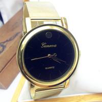 Wholesale 1pcs Gold Men s Fashion Stainless Steel Geneva Simple Silm Vintage Quartz Watches Women Dress Clock Relogio Montre Reloj Marca de Luxo