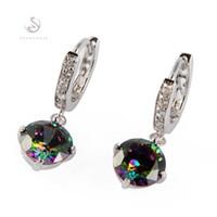 Wholesale Fashion E723 Romantic Mystic Topaz Beautiful Silver Plated Bohemia Hot Favourite Promotion Cubic Zirconia Rainbow Earrings