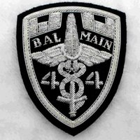 Wholesale Spot European design Balmain silver hand embroidered badges India silk chapter embroidery chapter x10cm
