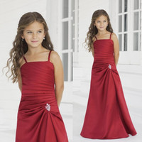 Wholesale 2016 Gorgeous Red Spaghetti Straps Little Flower Girls Dresses Junior Bridesmaid Dresses Floor Length Satin Girls Pageant Dresses Pleats