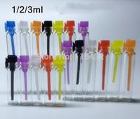 Tester perfume Prix-Flacon de parfum de verre de 1ML mini, flacon liquide d'échantillon de parfum, bouchon coloré 1000pcs / lot de tube de bouteille de testeur par DHL Livraison gratuite